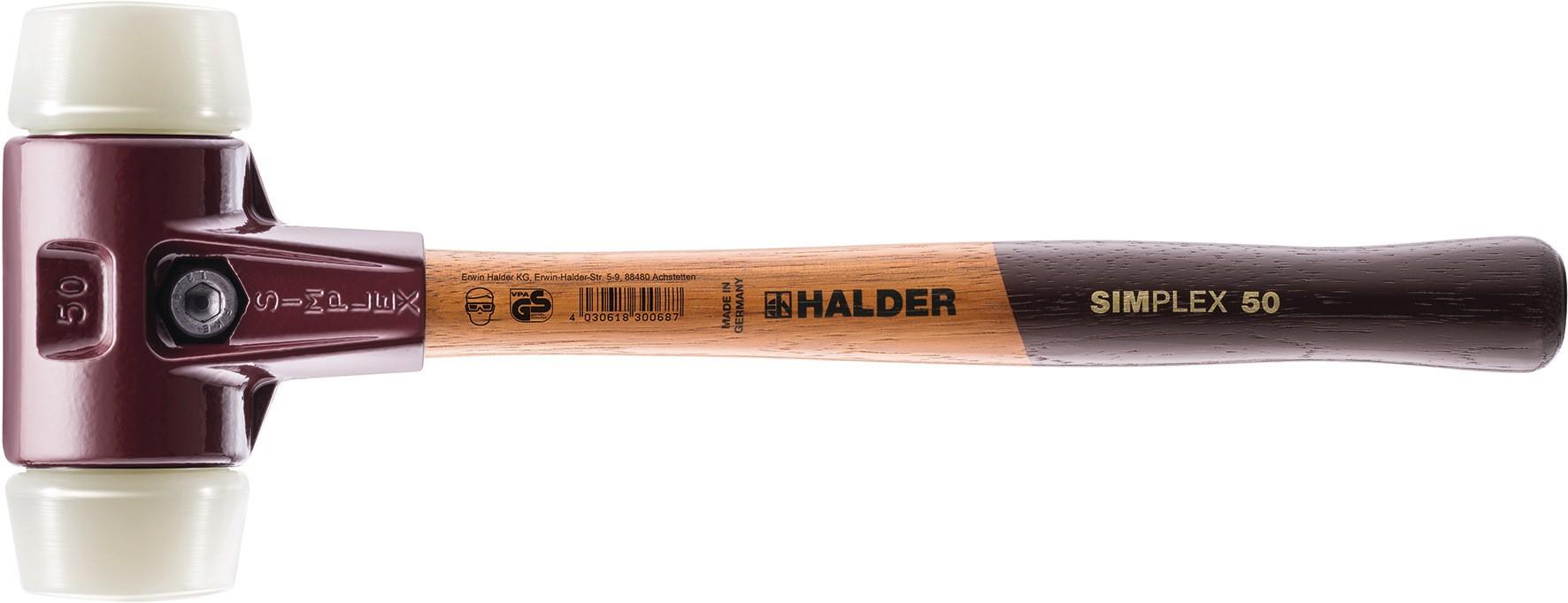 HALDER 3208050 Schonhammerkopf SIMPLEX Kopf-D 50 mm Nylon weiß hart