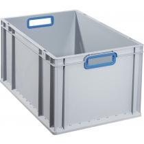 Transportstapelbehälter L600xB400xH320mm grau PP offener Griff blau