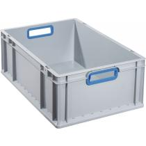 Transportstapelbehälter L600xB400xH220mm grau PP offener Griff blau