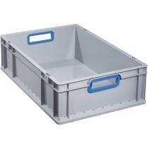 Transportstapelbehälter L600xB400xH170mm grau PP offener Griff blau