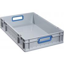 Transportstapelbehälter L600xB400xH120mm grau PP offener Griff blau