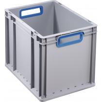 Transportstapelbehälter L400xB300xH320mm grau PP offener Griff blau