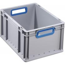 Transportstapelbehälter L400xB300xH220mm grau PP offener Griff blau