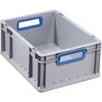 Transportstapelbehälter L400xB300xH170mm grau PP offener Griff blau