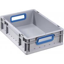 Transportstapelbehälter L400xB300xH120mm grau PP offener Griff blau