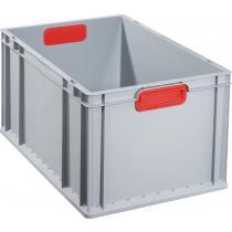 Transportstapelbehälter L600xB400xH320mm grau PP geschlossener Griff rot