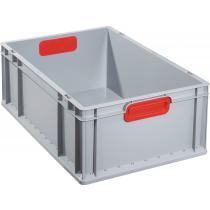 Transportstapelbehälter L600xB400xH220mm grau PP geschlossener Griff rot