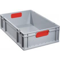 Transportstapelbehälter L600xB400xH170mm grau PP geschlossener Griff rot