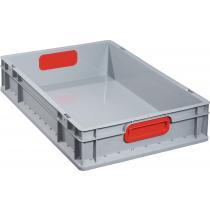 Transportstapelbehälter L600xB400xH120mm grau PP geschlossener Griff rot