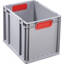 Transportstapelbehälter L400xB300xH320mm grau PP geschlossener Griff rot