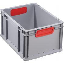 Transportstapelbehälter L400xB300xH220mm grau PP geschlossener Griff rot