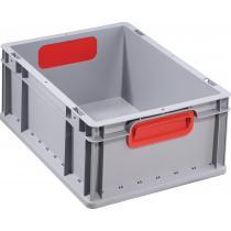 Transportstapelbehälter L400xB300xH170mm grau PP geschlossener Griff rot