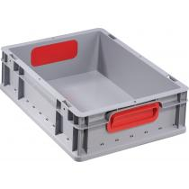 Transportstapelbehälter L400xB300xH120mm grau PP geschlossener Griff rot