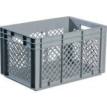 Transportbehälter L600xB400xH420mm grau PP Durchfassgr.Seitenwände durchbrochen