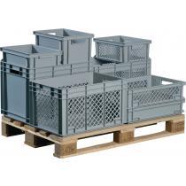 Transportbehälter L400xB300xH170mm grau PP Durchfassgr.Seitenwände durchbrochen